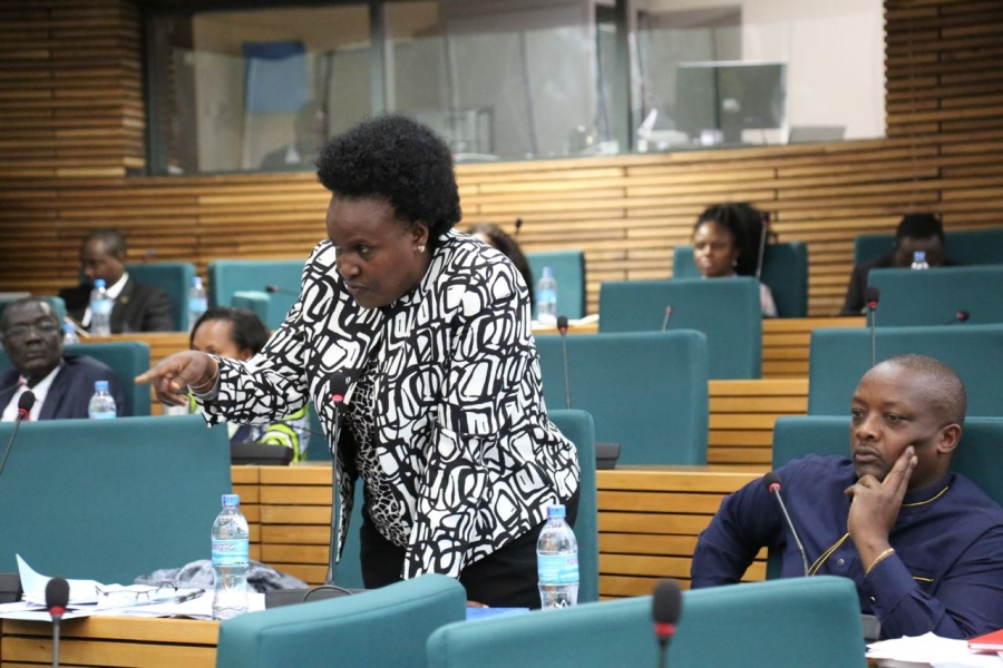 Hon Rose Akol, mover of the Motion that adjourned the House citing the absence of EAC Ministers during the budget debate