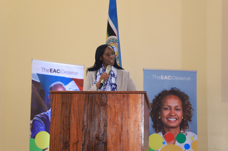 The Director General of African Cooperation in Rwanda's Ministry of Foreign Affairs and International Cooperation, Ms. Diyana Gitera, addressing participants during the launch of the 'EAC I Deserve' Campaign at the University of Rwanda in Kigali.