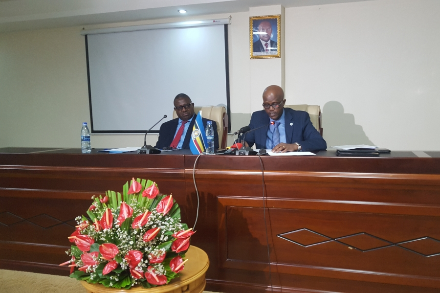 EAC Secretary General, Amb. Liberat Mfumukeko and Deputy Secretary General (in charge of Planning and Infrastructure), Eng. Steven Mlote during a press conference at Le Panoramique Hotel in Bujumbura, Burundi.