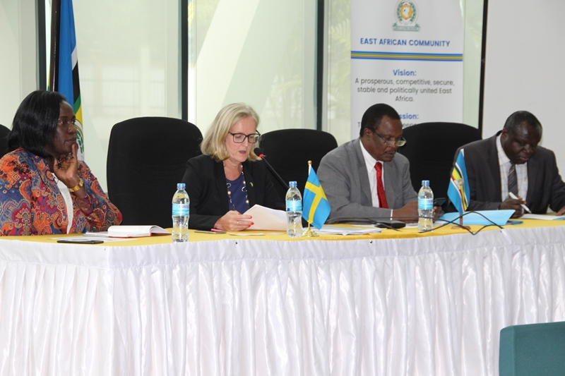 ( L-R) The EAC Deputy Secretary General in charge of Finance and Administration, Hon Jesca Eriyo,  Swedish Ambassador to Tanzania H.E. Katarina Rangnitt, Minister of Water and Environment from Uganda,  Hon Sam Mangusho Cheptoris and Deputy Secretary General in charge of Productive and Social Sector ,Hon Christophe Bazivamo