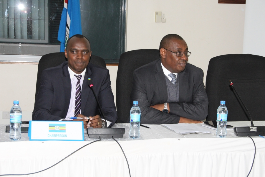 The Chairperson of the Session of Senior Officials, Mr. Jean Kizito (left), with the Director General of Customs and Trade, Mr. Kenneth Bagamuhunda, during the opening session of the Sectoral Council of Trade, Industry, Finance and Investment (SCTIFI) meeting at the EA Headquarters in Arusha, Tanzania.