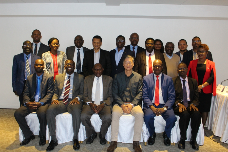 Group Picture: Seated left to right: Eng. Man'arai Ndovorwi from Regional Energy Regulators Association; Graham Ching'ambu, the Program Manager - Infrastructure, European Union in Zambia; Dr. Mohamedain Seif Elnasr, the Chief Executive Officer of the COMESA based Regional Association of Energy Regulatory Authorities in the Eastern and Southern Africa (RAERESA; Mark Kwai Pun, the Team Leader of the renewable Energy/Energy Efficiency at the IOC; Nganikiye Balthazar, Burundi's Director General of AREEN; and Prof Okure from the East African Centre for Renewable Energy and Energy Efficiency (EACREE).