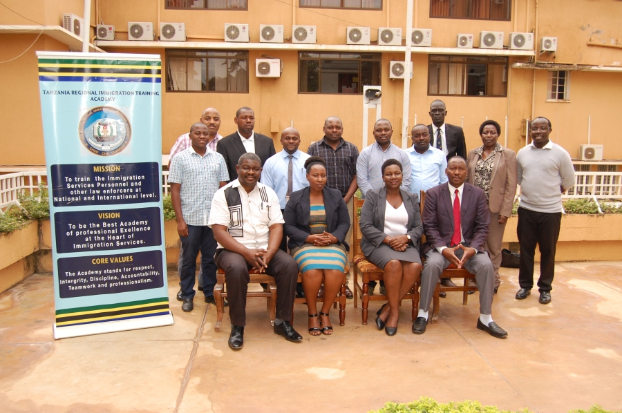 A group photo of the participants who attended the Training of Trainers for Immigration and Labour Officers convened at the Tanzania Regional Immigration Training Academy in Moshi, Tanzania.