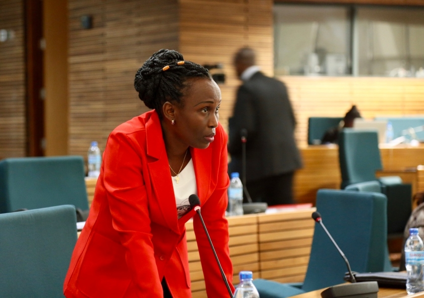 Hon Sophie Nsavyimana makes her submission on the floor of the House