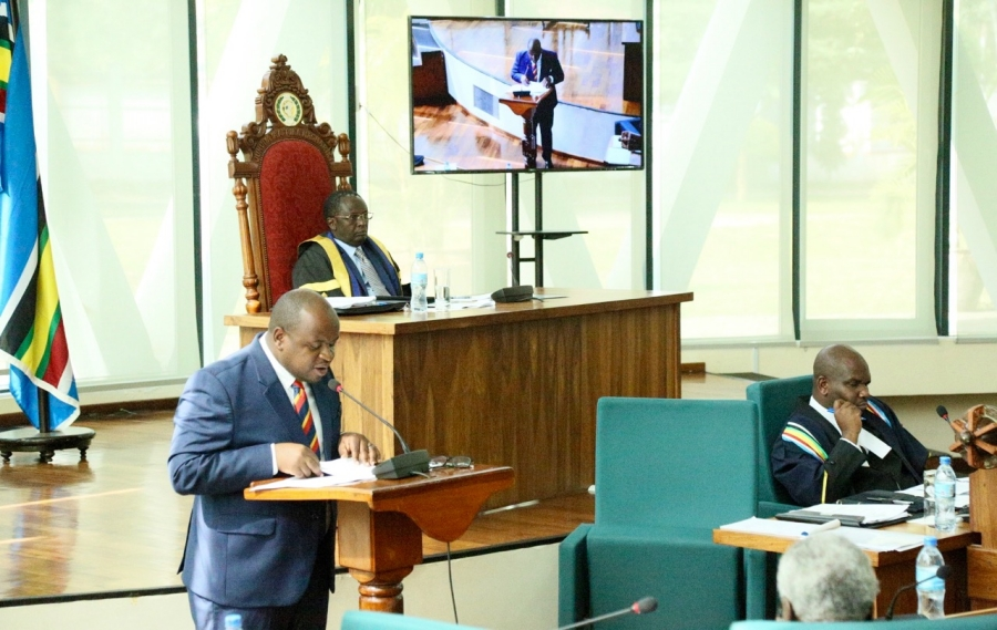 Chairperson of the Committee on Accounts, Hon Dr Ngwaru Maghembe presents to the House the report on the oversight activity undertaken at the Lake Victoria Basin Commission in Kisumu, Kenya last month.