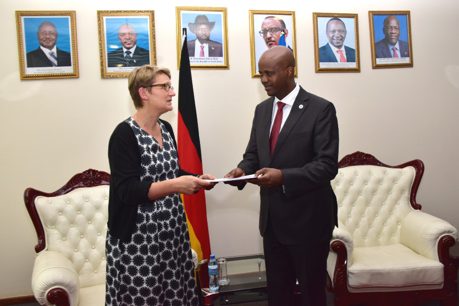 The Ambassador of the Federal Republic of Germany to Tanzania, Mrs Regine Hess presents her credentials to the Secretary General of the EAC Secretariat, Amb. Libérat Mfumukeko