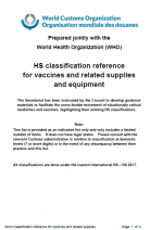 cover HS classification reference for Vaccines and related supplies and equipment