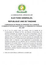 French Communiqué de Presse du Président de la Mission D'Observation des Elections de la Communauté D'Afrique de L'Est